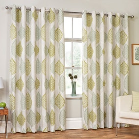 Ashdown Green Eyelet Curtains