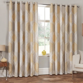 Ashdown Ochre Eyelet Curtains