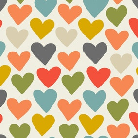 Multi Coloured Heart Print PVC Fabric