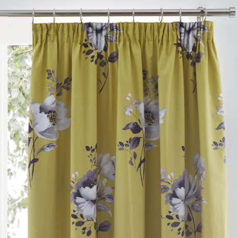 Liana Ochre Pencil Pleat Blackout Curtains