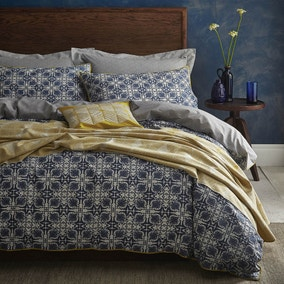Amal Blue Duvet Cover and Pillowcase Set