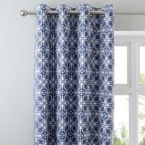 Amal Blue Eyelet Blackout Curtain