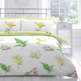 Mimosa Reversible Floral Duvet Cover and Pillowcase Set