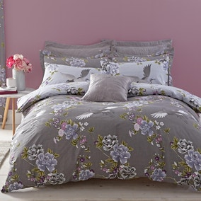 Crane Grey Duvet Cover and Pillowcase Set