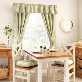 Kitchen Sage Dotty Pencil Pleat Curtains