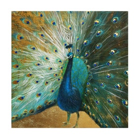 Colonial Charm Peacock Embellished Canvas