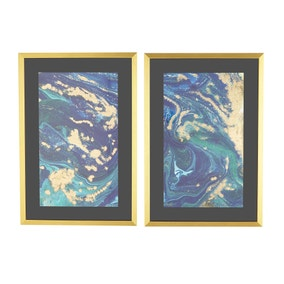 5A Fifth Avenue Set of 2 Agate Framed Panels