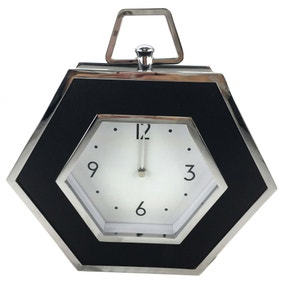 5A Fifth Avenue Black Faux Leather Mantle Clock