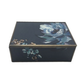 Colonial Charm Printed Glass Jewellery Box