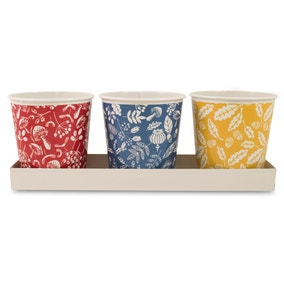 Keepers Lodge Set of 3 Herb Pots on Tray