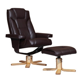 Epsom Black Recliner Armchair and Footstool