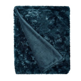 5A Fifth Avenue Emerson Midnight Blue Crushed Faux Fur Throw