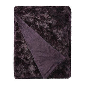 5A Fifth Avenue Emerson Plum Crushed Faux Fur Throw