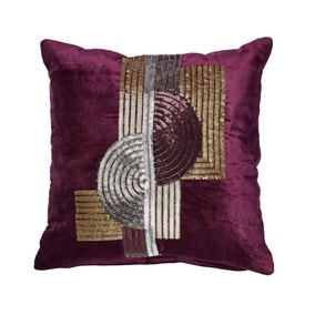 5A Fifth Avenue Plum Grand Central Bead Cushion