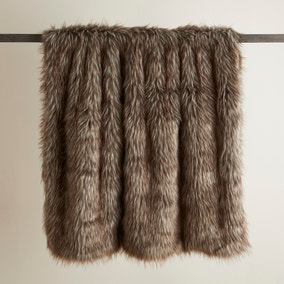 Chestnut Brown Bear Faux Fur Throw