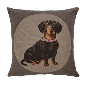 Bridgette Grey Dachshund Cushion