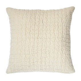 Bryony Cream Quilted Velvet Cushion