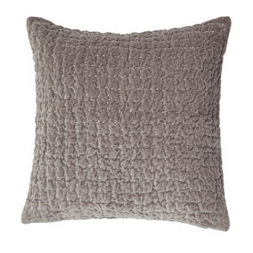 Bryony Grey Quilted Velvet Cushion