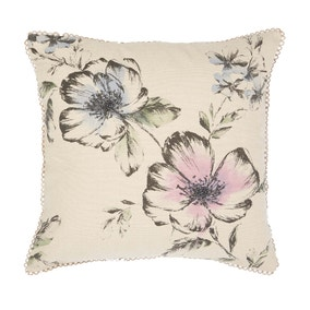 Chalk Floral Embroidery Cushion