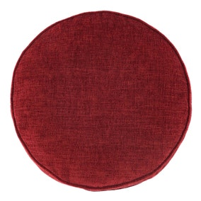 Chenille Round Red Cushion