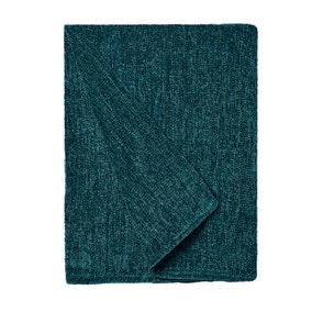 Chenille Petrol Blue Throw