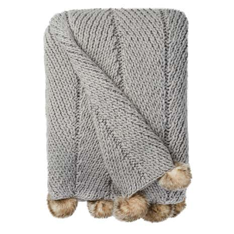 Grey Chunky Pompom Throw