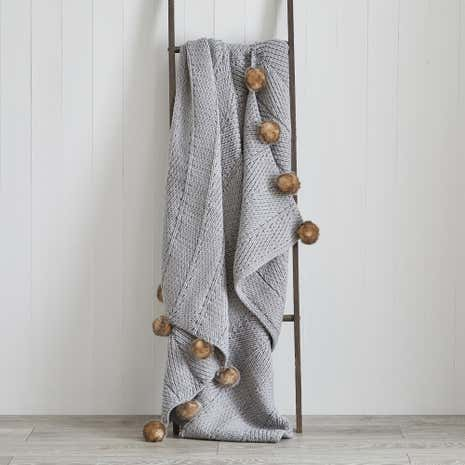Natural Chunky Pompom Throw