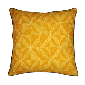 Elements Geo Contrast Ochre Cushion Cover