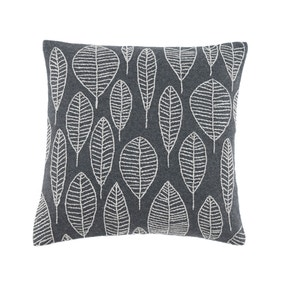 Elements Riley Grey Embroidered Leaf Cushion Cover