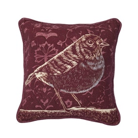 Small Plum Folkloric Bird Cushion