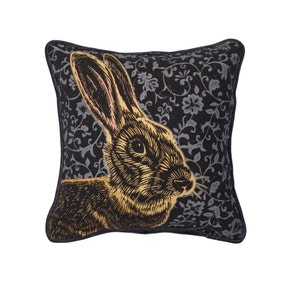 Small Blue Folkloric Rabbit Cushion