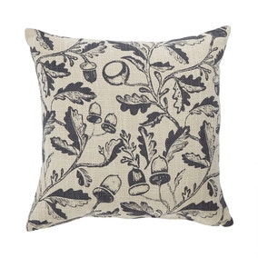 Moira Grey Oak Leaf Print Cushion