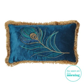 Blue Peacock Fringed Cushion