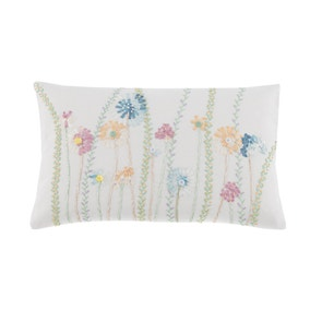 Summer Floral Embroidered Cushion Cover