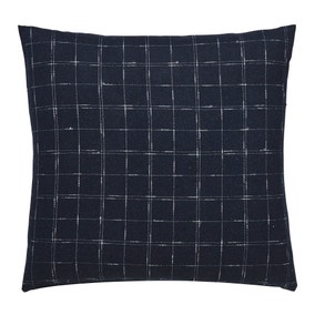 Navy Windowpane Check Cushion