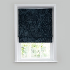 Crushed Velour Blue Roman Blind