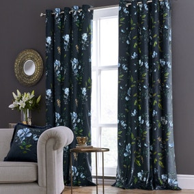 Charm Floral Midnight Blue Eyelet Curtains