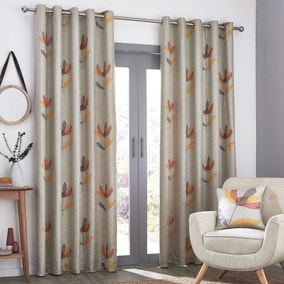 Elements Blomma Floral Applique Eyelet Curtains