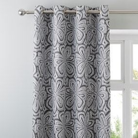 Grey Retro Flower Eyelet Curtains