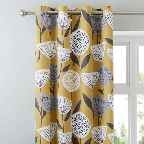 Elements Emmott Ochre Eyelet Curtains Dunelm