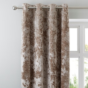 Crushed Velour Champagne Eyelet Curtains