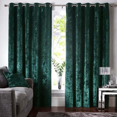 Crushed Velour Emerald Eyelet Curtains