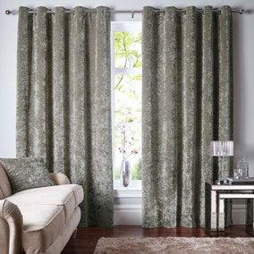 Mink Crushed Velour Eyelet Curtains