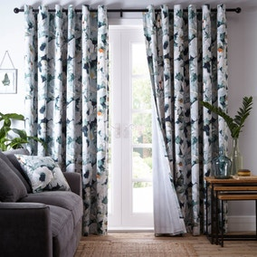 Waterlily Green Eyelet Curtains