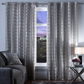 5A Fifth Avenue Silver Lexington Geo Eyelet Curtains