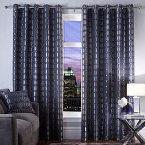 5A Fifth Avenue Midnight Blue Lexington Geo Eyelet Curtains