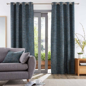 Hovden Blue Eyelet Curtains