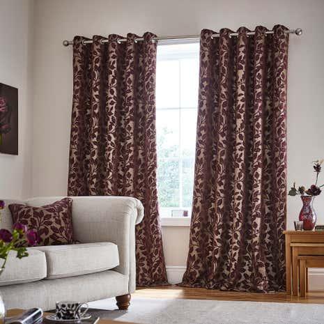 Oakley Plum Eyelet Curtains | Dunelm