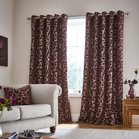 Oakley Plum Eyelet Curtains