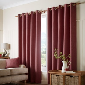 Paxton Red Eyelet Curtains